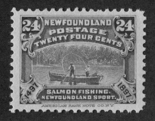 Newfoundland-71-24c-Grey-Violet-Salmon-Fishing-1897-John-Cabot-Iss-VF-82-OG-LH