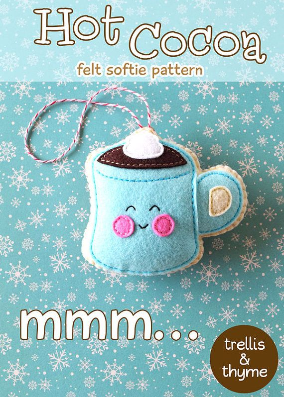 PDF Pattern  Hot Cocoa Felt Pattern Kawaii Felt by sosaecaetano