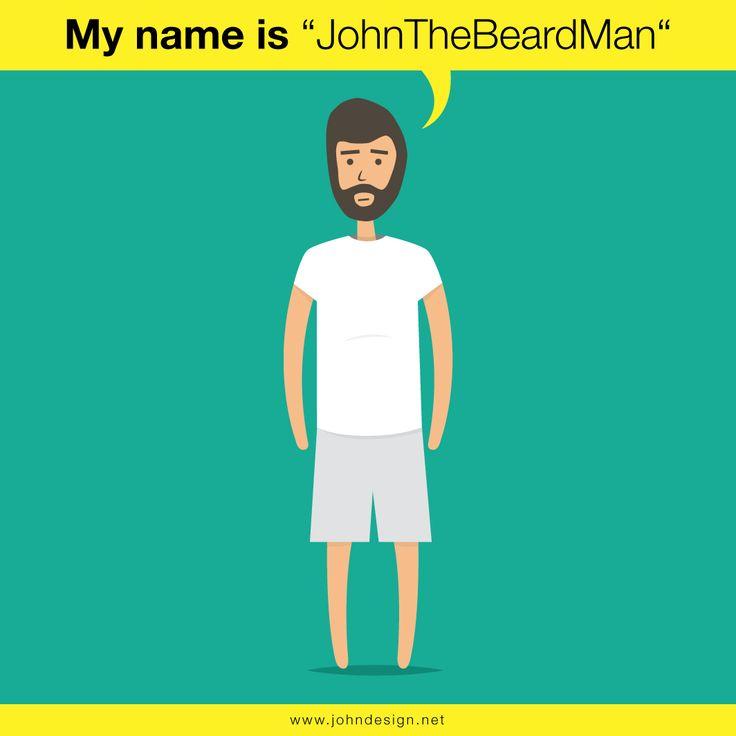 ILLUSTRATION VECTOR VIA ILLUSTRATOR EN FLAT-DESIGN - 'JOHN THE BEARD MAN'  Artwork by www.johndesign.net