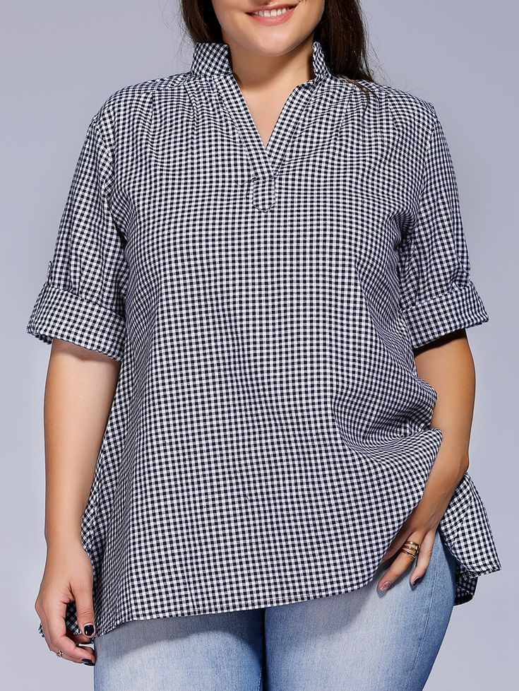plus size short sleeve plaid loose fitting blouse for women a patron pour grande taille. Black Bedroom Furniture Sets. Home Design Ideas