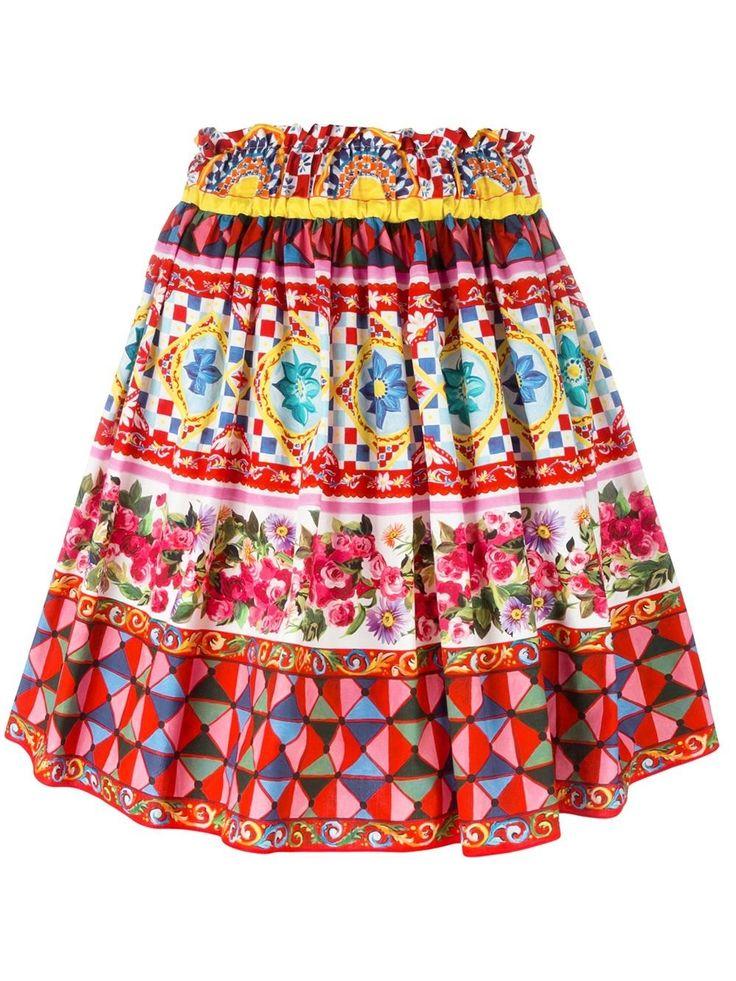 Dolce & Gabbana Mambo Print Pleated Skirt, http://www.kirnazabete.com/just-in/skirt-poplin-maiolica-print