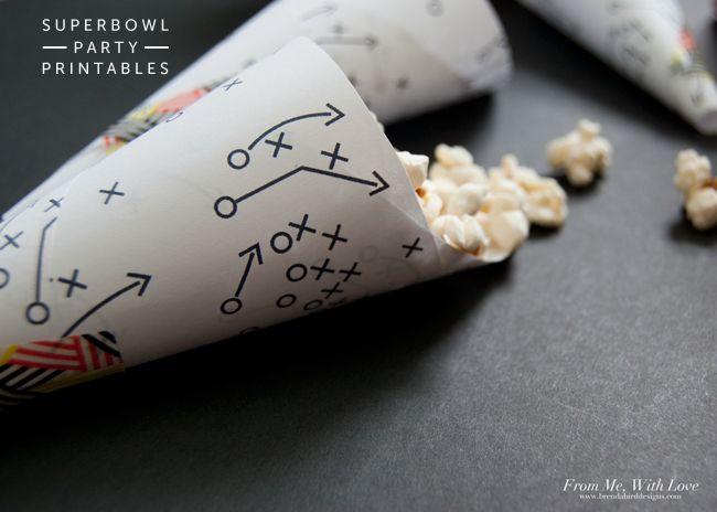 Super Bowl Party Cones - free printable