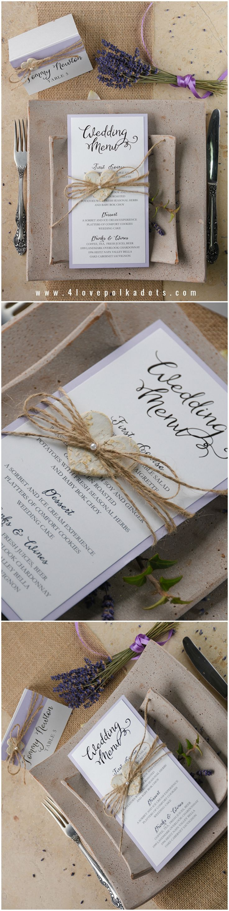 Lavender Wedding Rustic Menu with birch bark heart tag #rustic #cottage #provence #weddingideas #lavender #menu #stationery #purple #lilac