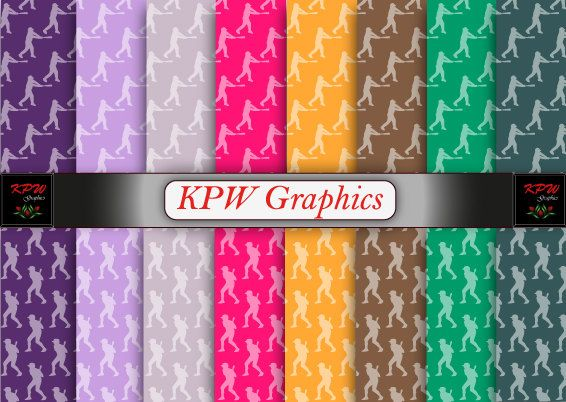 Rainbow  Baseball Hitter 2 types Digital Printable by KPWgraphics