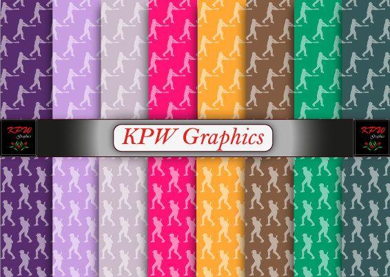 Rainbow  Baseball Hitter 2 types Digital Printable by KPWgraphics