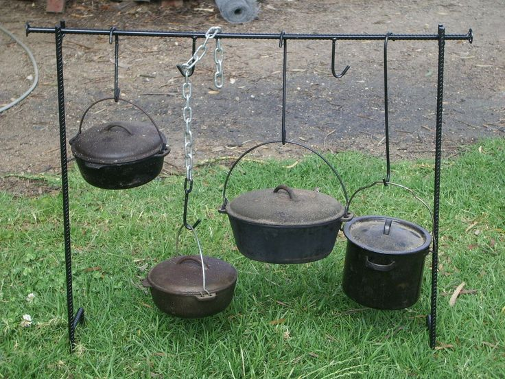 Campfire cook stand stockman camp oven cooking frame for Cast iron dutch oven camping recipes