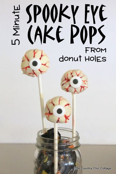 Spooky Eye Cake Pops for Halloween -- a quick and easy dessert in 5 minutes or less!  Use donut holes and make these spooky eyes in no time ...