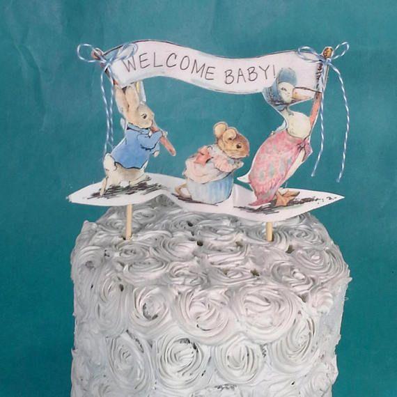Shabby Chic Peter Rabbit Cake Topper Fabric Peter Rabbit Baby · Pastel De  ...