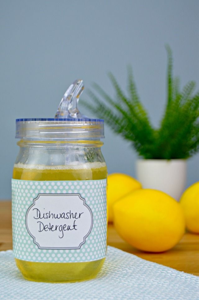 Homemade Liquid Dishwasher Detergent made with all natural ingredients including…