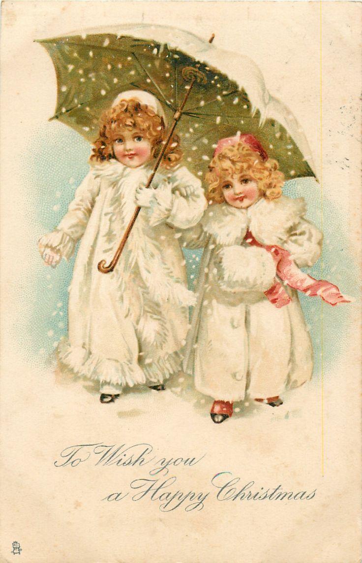 Винтажные детки новогодние открытки, хвост феи