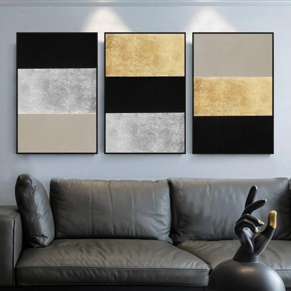 3 pieces Original Abstract gold leaf black and white Acrylic Painting On Canvas geometric art Wall Picture Decor cuadros abstractos