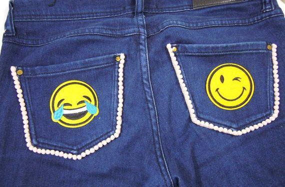 3 pcs Emoji Iron On Patches. Iron-on Garmet Patch Emoji, Winking Emoticon - Cool shades Emoji Patch. UK Seller