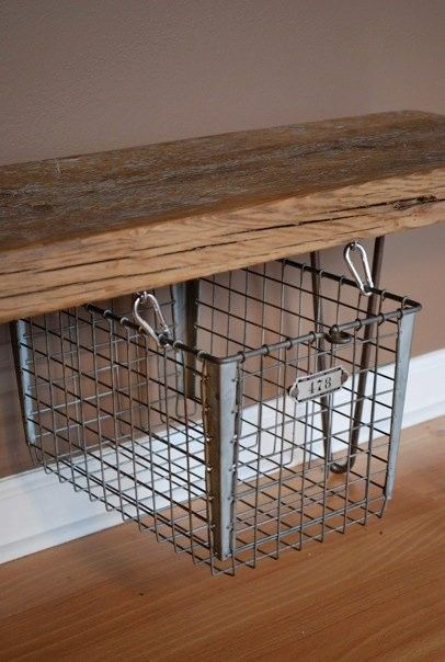 Modern rustic Reclaimed Wood Bench with suspended floating vintage wire locker basket and hairpin legs