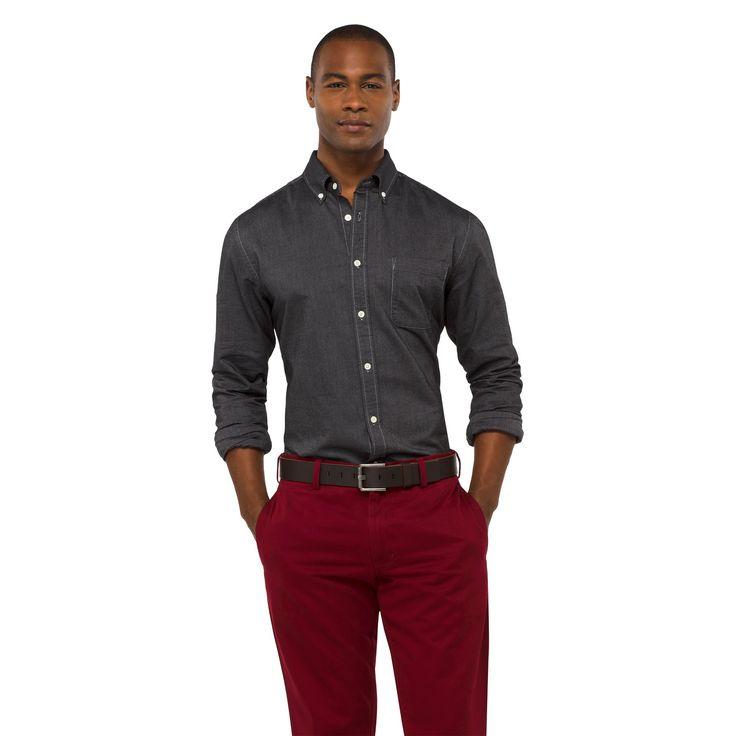 Men's Solid Oxford Shirt Manhattan mist XS - Merona