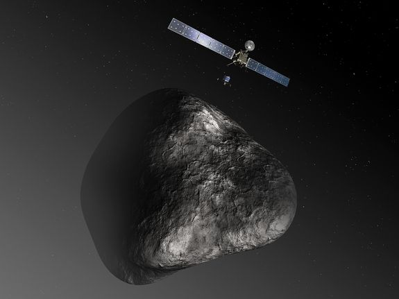 Rosetta spacecraft arrived at Comet 67P/Churyumov-Gerasimenko on Aug. 6, 2014. Rosetta is named for the Rosetta Stone, a block of black basalt that was inscribed with a royal decree in three languages — Egyptian hieroglyphics, Egyptian Demotic and Greek. The spacecraft's robotic lander is called Philae, named after a similarly inscribed obelisk found on an island in the Nile River. Philae will land on the comet in November- the first ever controlled landing on a comet.