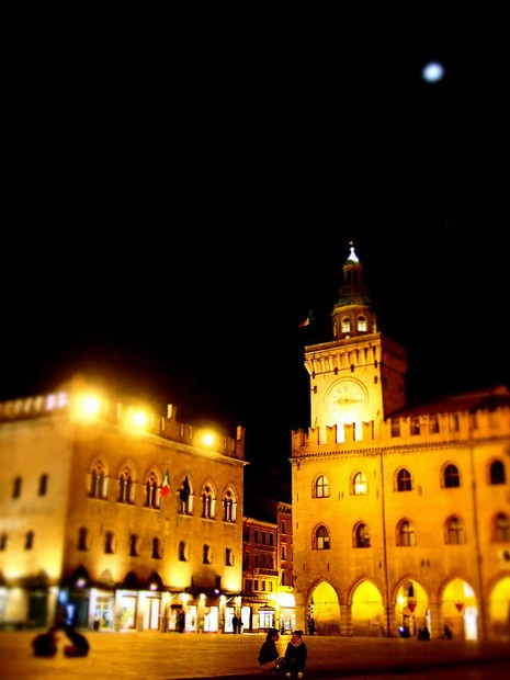 """""""Piazza Maggiore under a full moon"""" - """"Bologna in a Blur"""" by @legalnomads"""