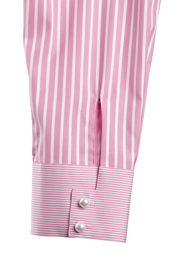 Bespoke Blouse ~ Pin Stripe with Cuff & Two Pearl Buttons ....