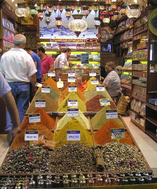 Exotic teas and spices at the Grand Bazaar, Istanbul.