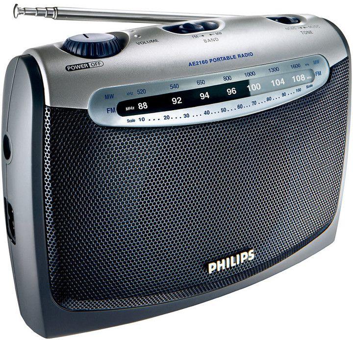 Přenosný radiopřijímač, dvoupásmový tuner FM/MW, výkon 300 mW RMS, sluchátkový výstup, napájení 230V nebo pomocí baterií.