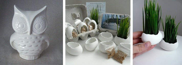1.Ceramic Owl Planter Vintage Design White - 40$; 2.Porcelain Egg Planters- 25$.