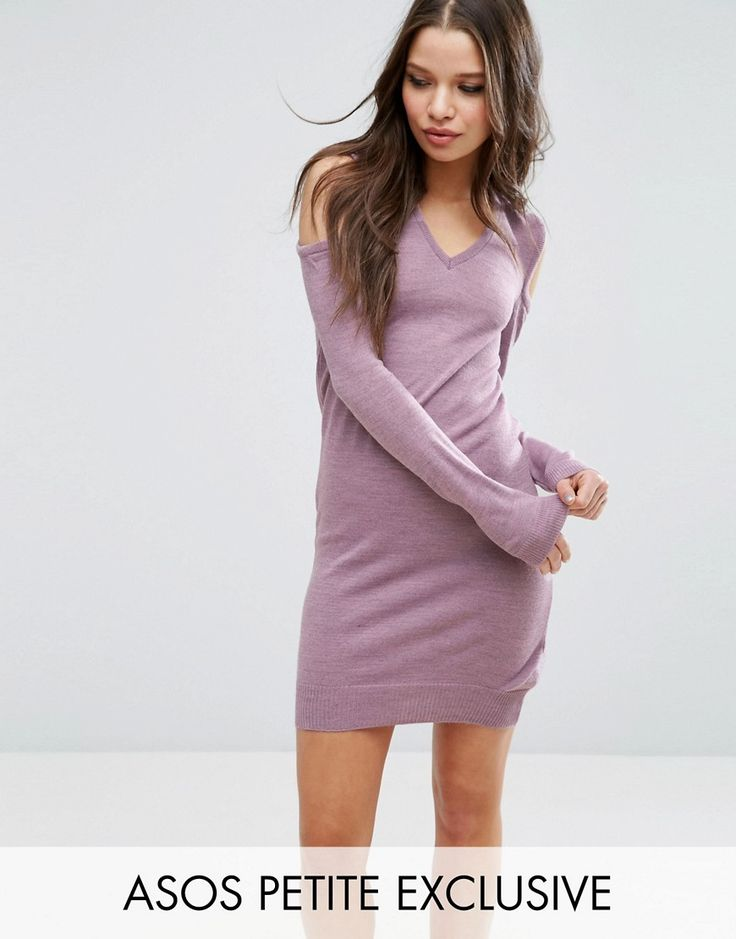 Get this Asos Petite's jersey dress now! Click for more details. Worldwide shipping. ASOS PETITE Jumper Dress With V Neck And Cold Shoulder - Purple: Petite dress by ASOS PETITE, Soft knit, V-neckline, Cold-shoulder design, Ribbed trims, Slim fit - cut close to the body, Machine wash, 100% Acyrlic, Our model wears a UK 8/EU 36/US 4. 5�3�/1.60m and under? The London-based design team behind ASOS PETITE take all your fashion faves and cut them down to size. Say goodbye to all your short-gir...