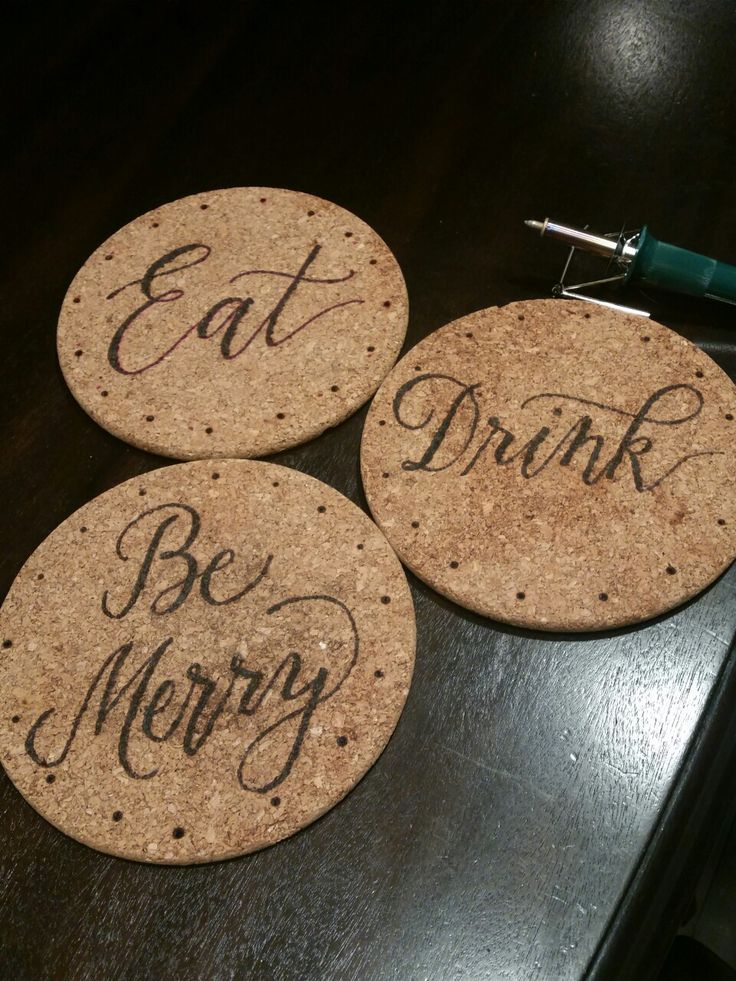 Wood Burning cork hot plates with Plaid Wood Burner. Calligraphy and wood burning done by Inkchanted Paper & Designs. Follow me on IG @inkchantedpd