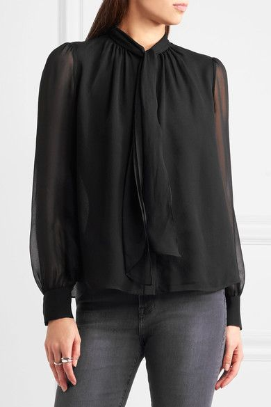 Diane von Furstenberg | Alvanna pussy-bow silk-chiffon blouse | NET-A-PORTER.COM