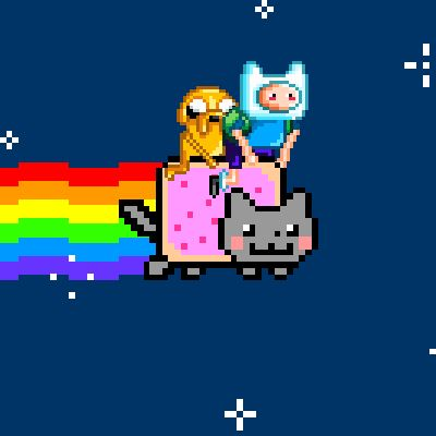 Adventure Nyan Cat Time With Finn the Human, Jake the Dog, and Nyan the Poptart Cat! Adventure Time.