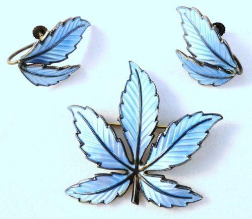 Bernard Meldahl 'Maple Leaf' Norway 925s Enamel Brooch Earrings Set Blue C 1968