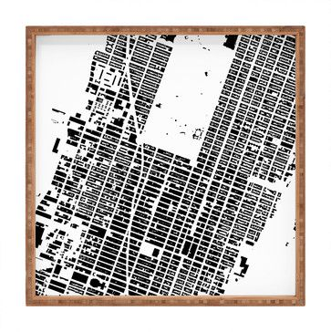 Cityfabric Inc NYC Midtown White Square Tray, Small - contemporary - platters - by DENY Designs