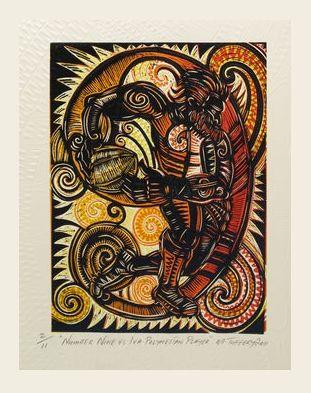 'Number Nine vs Iva' (embossed woodblock print on Pescia paper) by Michael Tuffery.