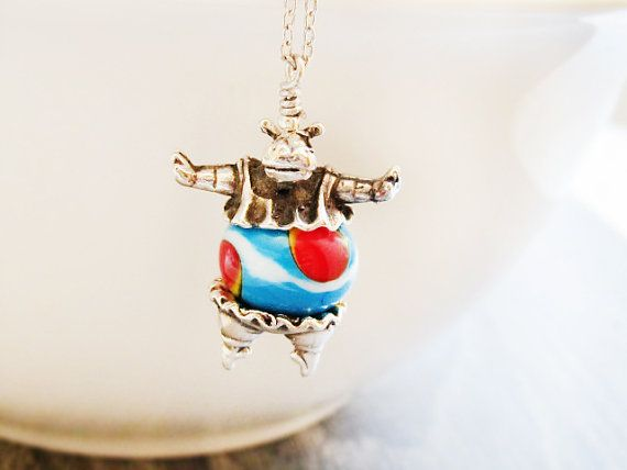 Cute Animal Necklace Silver Plated Hippo by GlassHouseLampwork
