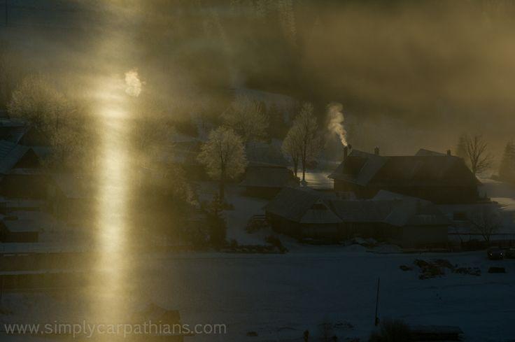 Early winter morning in the Carpathian village, Slovakia.