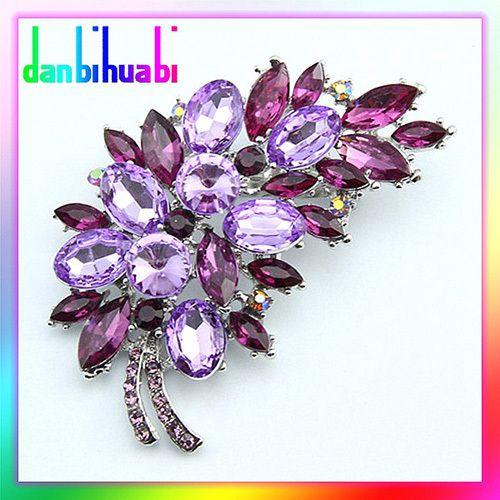 Big Size  Fashion Accessories Small Flower Clusters Leaf Rhinestone Brooch Pin ( Minimum order is $10 USD)