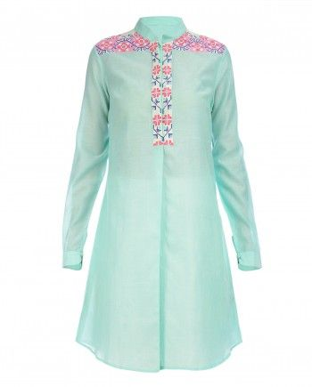 Cyan Tunic with Graphic Embroidery