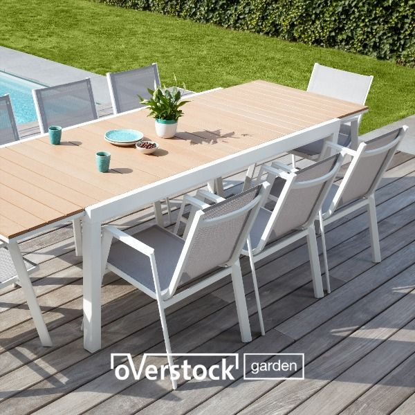 Ensemble De Jardin Extensible Oviedo Blanc Gris Plateau De Table