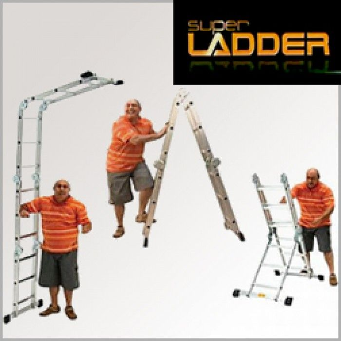 Among extendable ladders, the Super Ladder is, Portable, versatile, safe and has easy 'click lock' system to secure it's shape. The extendable Super Ladder is made from high quality aluminium used in the aircraft industry, ensuring it will not rust. Also, the aluminium construction makes it both lightweight and sturdy at the same time. The rubber feet prevent the super ladder from sliding and provides stability on any surface.
