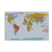 Met dit canvas doek 'Worldmap' hoef jij nooit meer de atlas erbij te pakken! Groot en gedetailleerd, dat valt er te zeggen over dit doek. Geef met gekleurde speldjes aan waar je bent geweest en waar je nog naar toe wilt. Leuk voor in de studiekamer of voor op je slaapkamer! #canvas #wereldkaart #reizen #studeren