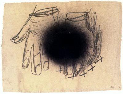 """Antoni Tàpies Puig (1923-2012). """"Nº 3"""". Pintura y lápiz sobre papel. 45,5 x 59 cm."""