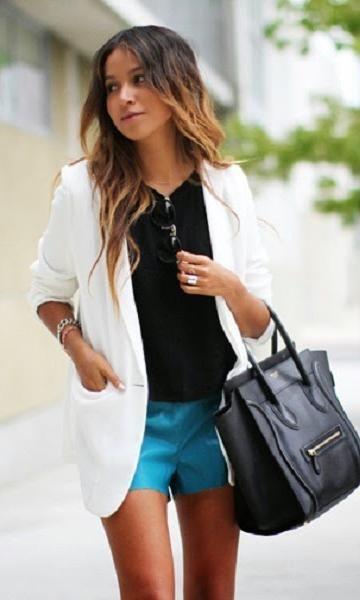 Look: Azul Turquesa & Blazer - Moda it | Moda It Blazer Branco + Short Turquesa