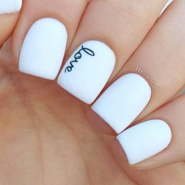 Black and White Handwrite Love Nails