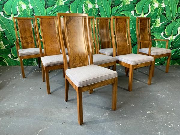 Burl Wood Dining Chairs By Founders Furniture In The Manner Of Milo Baughman Dining Chairs Wood Dining Chairs Burled Wood