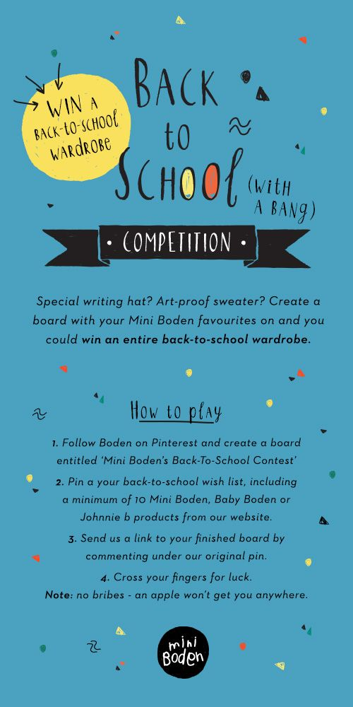 Make back-to-school dressing as easy as ABC with our latest Pinterest contest. For how to play, click here: http://bit.ly/1MeJlTm #MiniBoden #BacktoSchool