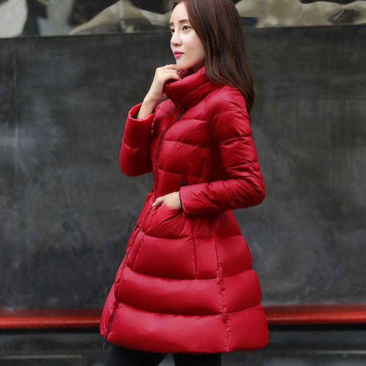 Cheap 2015 moda europee e americane stile risvolto mantello messo su una grande vita piumino ragazze lungo cappotto di inverno marea, Compro Qualità Giù & parka direttamente da fornitori della Cina: