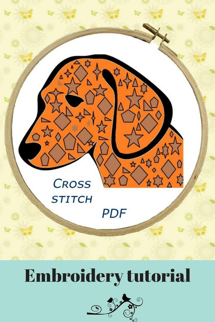 Funny Dogs Modern Embroidery Pattern Primitive Fall Decor Decor Handmade Puppy Animal Embroidery Patterns Embroidery Stitches Embroidery Stitches Tutorial