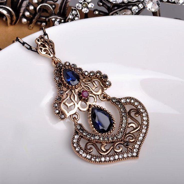 Brand Turkish Jewelry Vintage Women Big Pendants Blue Water Drop Stones Long Necklaces For Party Dresses Sweater Acrylic Bijoux – Kleidung/Haare