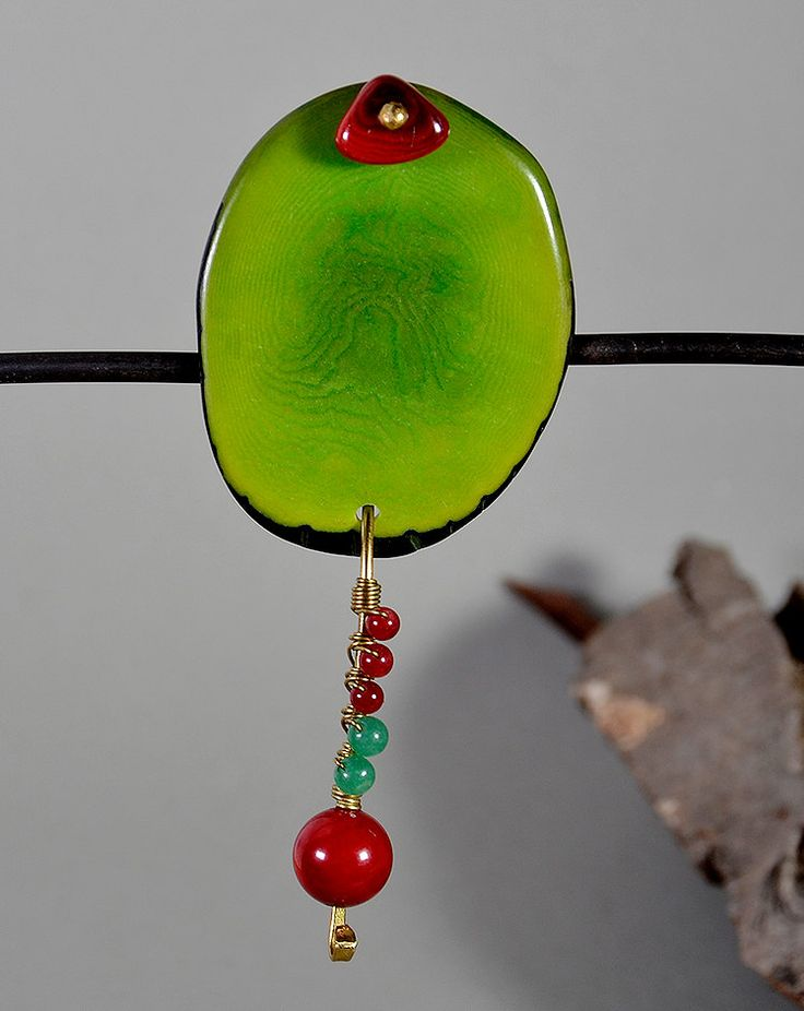 Green chuncky tagua nut  shield brooch with red coral and green jade, Big green vegetable ivory pin with red and green stones, free shipping by NataliaNorenasilver on Etsy