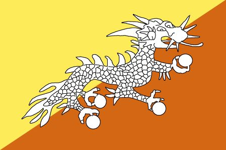 The Bhutan flag was officially adopted in 1965.           The flag features the Thunder Dragon, the country's emblem. Yellow symbolizes the authority of the king, white represents purity and loyalty, while orange is symbolic of the Drukpa monasteries.