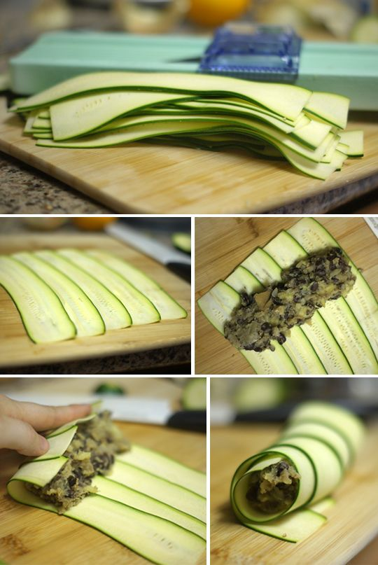 Black bean & sweet potato enchiladas wrapped in zucchini slices - looks simple and delicious.