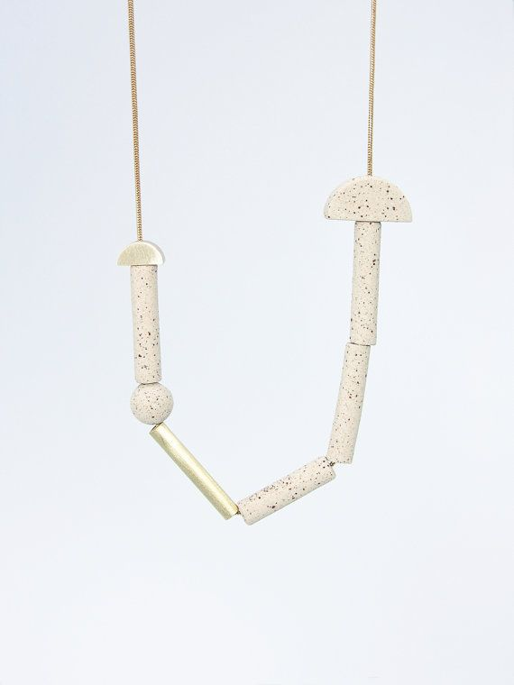 PETRA n.4 // Speckled stoneware and brass necklace //
